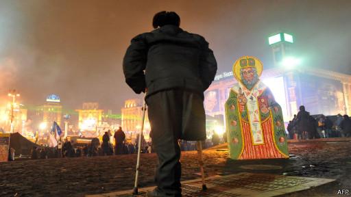 Протестующий на Майдане в Киеве