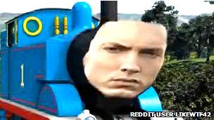 Montaje que muestra una locomotora con el rostro de Eminem