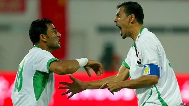 يونس محمود بعد تسجيله هدف العراق الأول