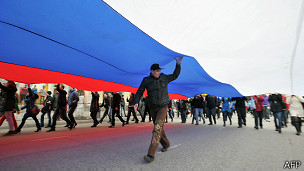 Rusos en el centro de Crimea