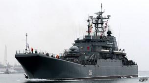 Barco de guerra ruso en el Mar Negro