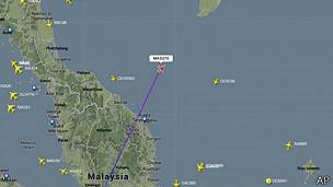 Imagen de fligthradar24.com con ubicación del vuelo