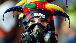 Manifestante antigubernamental en Caracas (Foto AP//Rodrigo Abd)