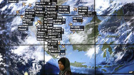 Tablero electrónico en aeropuerto de Kuala Lumpur