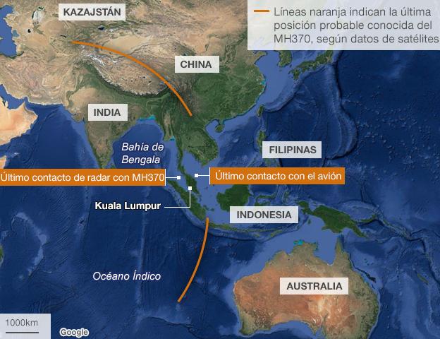 Mapa que  muestra los corredores de búsqueda del avion de Malaysia Airlines