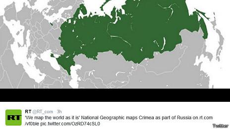 Mapa de Rusia reproducido por Russia Today
