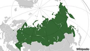 Mapa de Rusia sin Crimea que aparece en Wikipedia este miércoles.