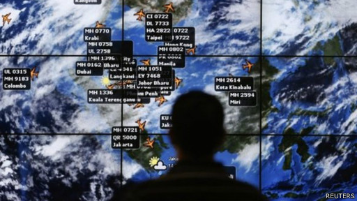 Peta pencarian pesawat MAS