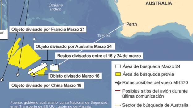 Mapa del área de búsqueda del vuelo MH370