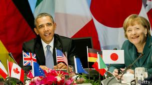 Obama y Merkel en la última reunión del G7