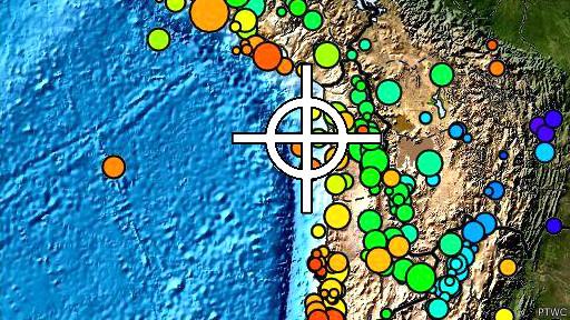 Mapa que muestra el epicentro