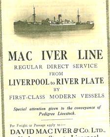 Anuncio de un viaje en barco desde Liverpool al Río de la Plata