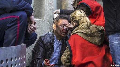 Раненый демонстрант в Луганске
