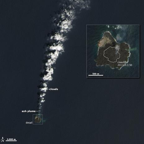 Imagen satelital de la Nasa de la isla Nijima