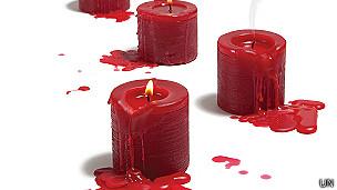 Velas rojas en ilustración del informe