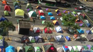 Campamento de protesta en Caracas