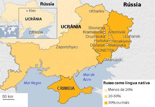As cidades afetadas pelo movimento separatista na Ucrânia