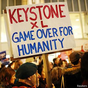manifestantes contra Keystone XL
