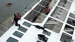Rescatistas en el ferry