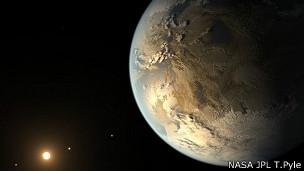 Impresión artística del planeta Kepler 186f