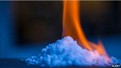 Gelo com gás metano pega fogo (Alamy)