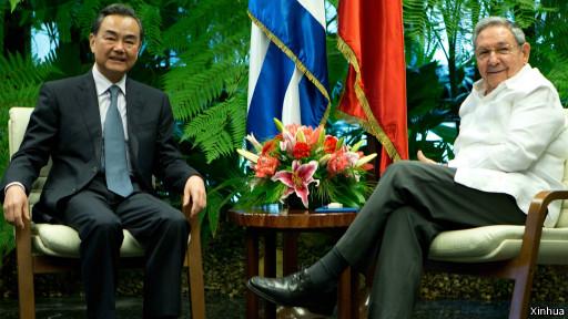 王毅與勞爾卡斯特羅會面