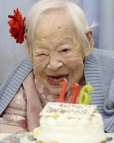 Misao Okawa, la mujer reconocida oficialmente como la más longeva del mundo.