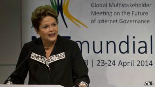 Dilma Rousseff na NetMundial. Foto: AFP