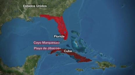 Mapa de Cuba a Florida