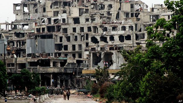 Edificio en ruinas en Homs