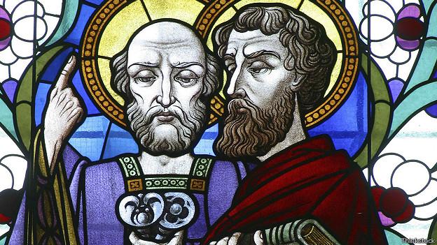 Изображение на мозаике собора: святые апостолы Петр и Павел