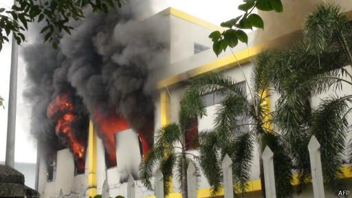 Пожар в провинции Биньдинь