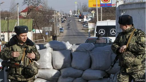 Украинские пограничники на КПП
