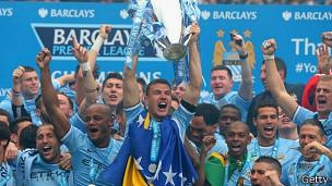Manchester City celebra su campeonato en la Liga Premier