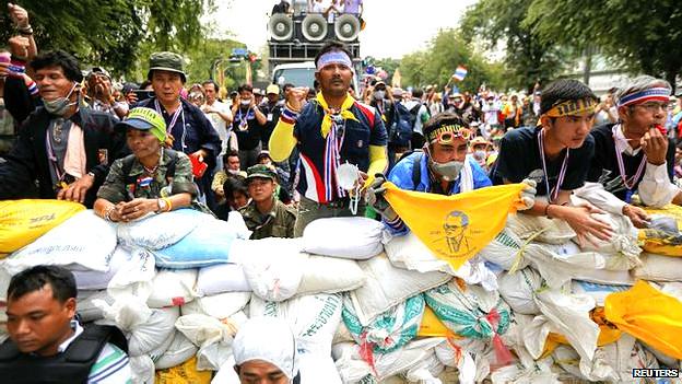 Manifestantes de oposición en Tailandia