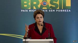 La presidenta Dilma Rousseff inaugura el terminal 3 del aeropuerto de Sao Paulo.