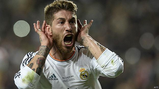 Sergio Ramos celebra su gol para Real Madrid