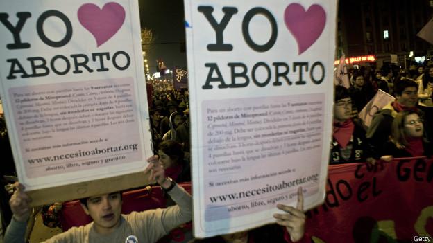Manifestación a favor del aborto en Chile