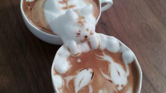 Arte 3D em café (Kazuki Yamamoto)