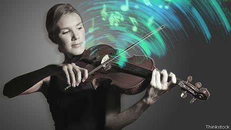Violinista y notas musicales