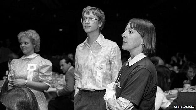 Esther Dyson y Bill Gates en 1984