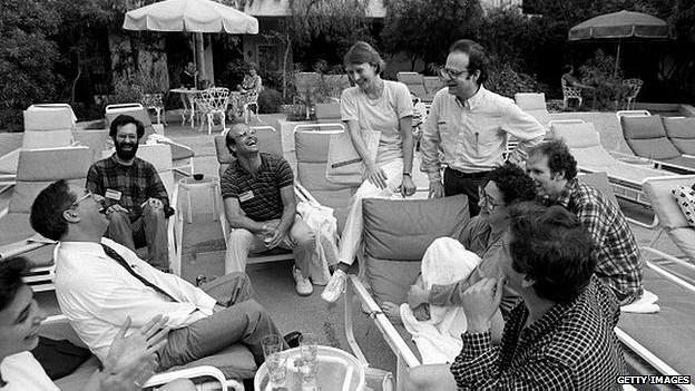 Esther Dyson con sus colegas en 1986