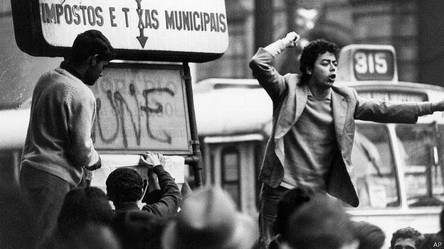 Protesta en Sao Paulo en la década de 1970