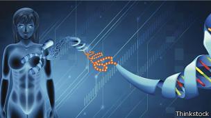 Mujer y hélices de ADN