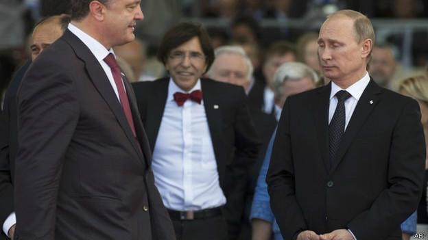 Владимир Путин и Петр Порошенко в Нормандии 6 июня 2014 г.