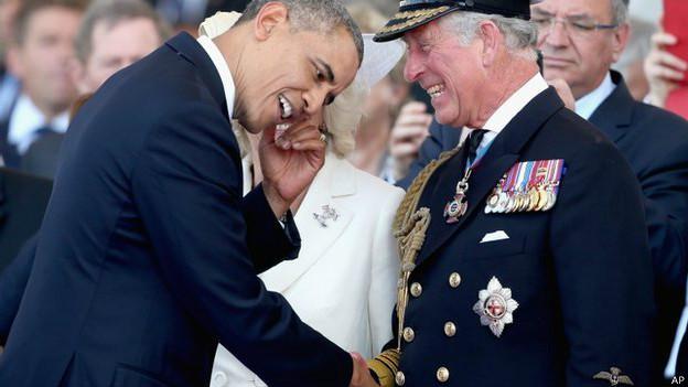 Барак Обама и принц Чарльз в Нормандии 6 июня 2014 г.