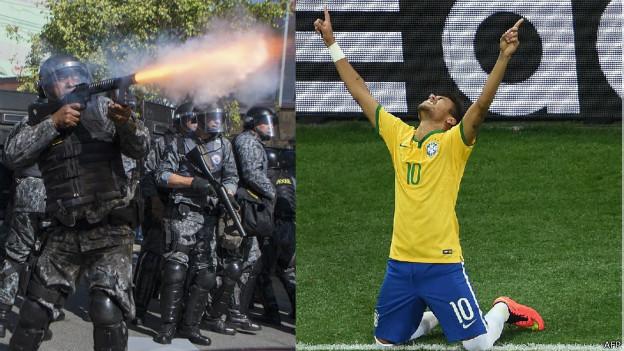 Neymar e policial (AFP)