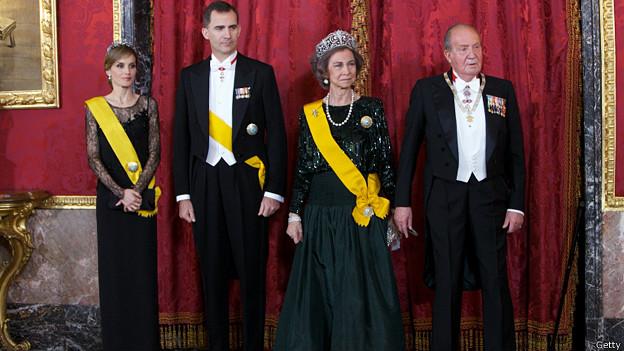 Letizia, Felipe, Sofía y Juan Carlos