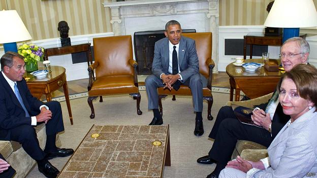 Obama y miembros del Congreso
