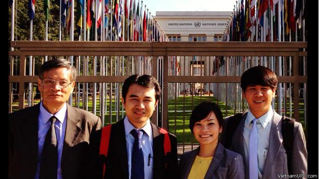 Bốn nhà hoạt động Nguyễn Quang A, Phạm Lê Vương Các, Nguyễn Thị Vy Hạnh và Trịnh Hữu Long tại Liên Hiệp Quốc
